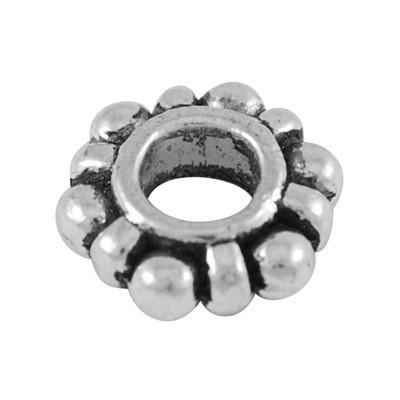Tibeti stílusú fém köztes - antik ezüst színű 4x11mm-es rondell, furat: 4,5mm