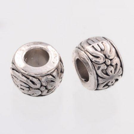 Tibeti stílusú fém köztes - antik ezüst színű 5,5x8mm-es rondell, furat: 3,7mm