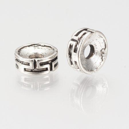 Tibeti stílusú fém köztes - antik ezüst színű 3x7,5mm-es rondell, furat: 2,5mm