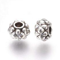 Tibeti stílusú fém köztes - antik ezüst színű 4,5x6,5mm-es rondell, furat: 2mm