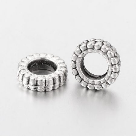 Tibeti stílusú fém köztes - antik ezüst színű 2x7mm-es rondell, furat: 3,5mm