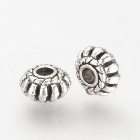 Tibeti stílusú fém köztes - antik ezüst színű 8x4,5mm-es rondell, furat: 2,5mm