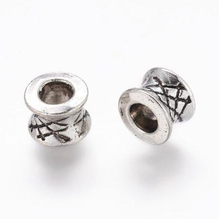 Tibeti stílusú fém köztes - antik ezüst színű 5,5x7mm-es rondell, furat: 3,8mm