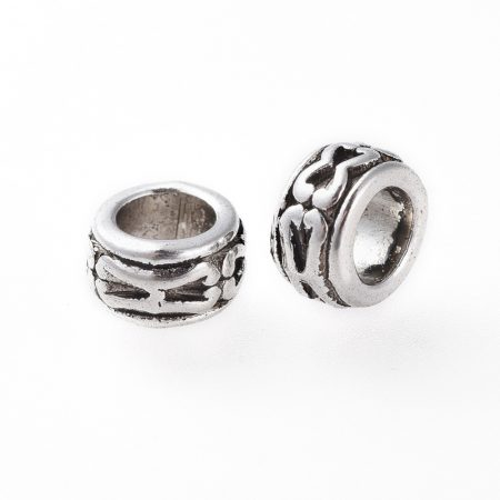 Tibeti stílusú fém köztes - antik ezüst színű 4x6mm-es rondell, furat: 3,8mm