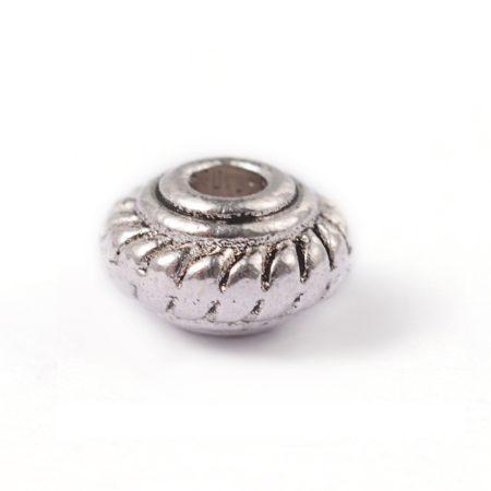 Tibeti stílusú fém köztes - antik ezüst színű 2,5x4,5mm-es rondell, furat: 1,4mm