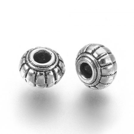 Tibeti stílusú fém köztes - antik ezüst színű 4x6mm-es rondell, furat: 1,8mm