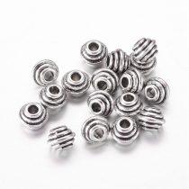 Tibeti stílusú fém köztes - antik ezüst színű 5x6,5mm-es rondell, furat: 2,3mm