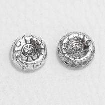 Tibeti stílusú fém köztes - antik ezüst színű 12x12x4mm-es korong