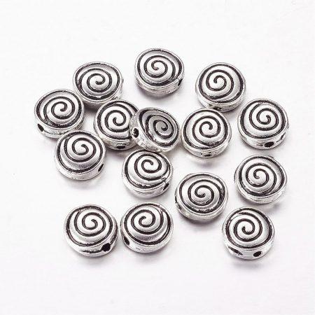 Tibeti stílusú fém köztes - antik ezüst színű 8x3,5mm-es rondell, furat: 1,3mm