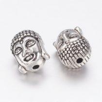 Tibeti stílusú fém köztes - antik ezüst színű 10,5x8,5x8mm-es Buddha fej, furat: 1,6mm