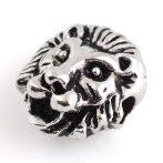 Tibeti stílusú fém köztes - antik ezüst színű 15x5,5x4,5mm-es oroszlánfej, furat: 2,2mm