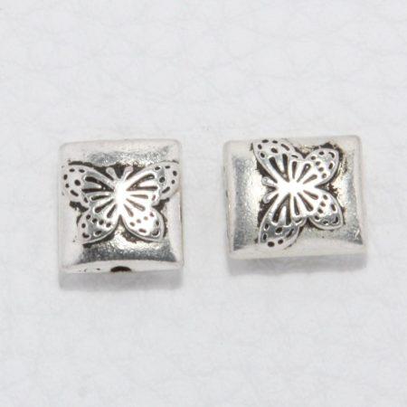Tibeti stílusú fém köztes - antik ezüst színű 10x9mm-es pillangós téglalap