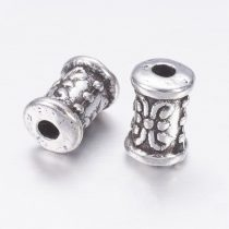 Tibeti stílusú fém köztes - antik ezüst színű 7x5mm-es cső, furat: 1,8mm