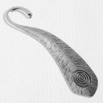 Könyvjelző alap 10,5cm-es - antik ezüst színű, pávatoll