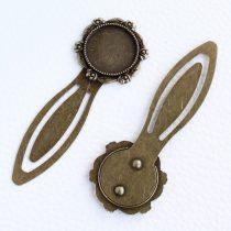 Ragasztható könyvjelző alap 8cm-es - antik bronz színű, 20mm-es kabosonhoz