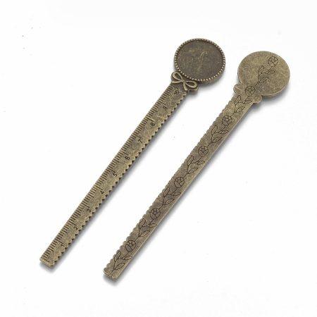 Ragasztható vonalzós könyvjelző alap 13cm-es - antik bronz színű, 20mm-es kabosonhoz
