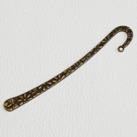 Könyvjelző alap 12cm-es - antik bronz színű, virágos-pillangós