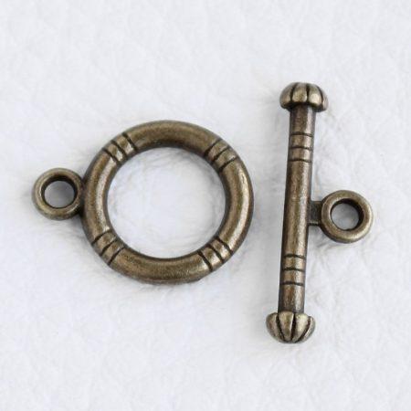 Tibeti stílusú, antik bronz színű T-kapocs 15x12 + 7x19mm-es