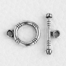 Tibeti stílusú, antik ezüst színű T-kapocs 15x12 + 7x19mm-es