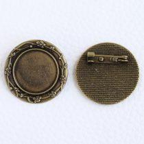 Ragasztható kitűző alap 30mm átmérőjű - antik bronz színű, 20mm-es kabosonhoz