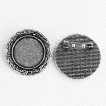 Ragasztható kitűző alap 30mm átmérőjű - antik ezüst színű, 20mm-es kabosonhoz