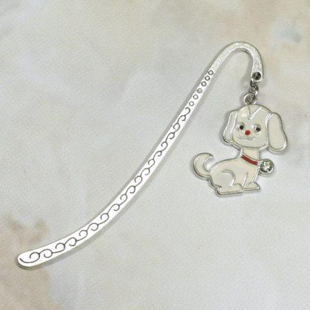 Fém könyvjelző kutya medállal - 8cm