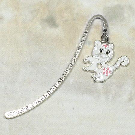 Fém könyvjelző cica medállal - 8cm