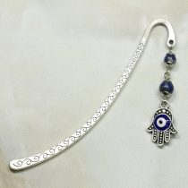 Fém könyvjelző lápisz lazulival és Nazar szemes Hamsa kéz / Fatima keze medállal - 8cm