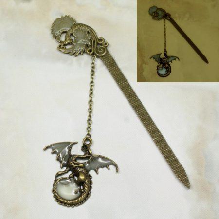 Fém főnixmadaras könyvjelző sárkány medállal, FOSZFORESZKÁLÓ bevonattal - 12cm