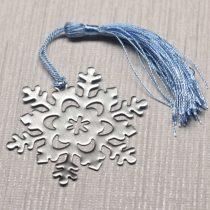 Textilbojtos acél könyvjelző (vagy egyéb dekoráció) díszdobozban - hópehely