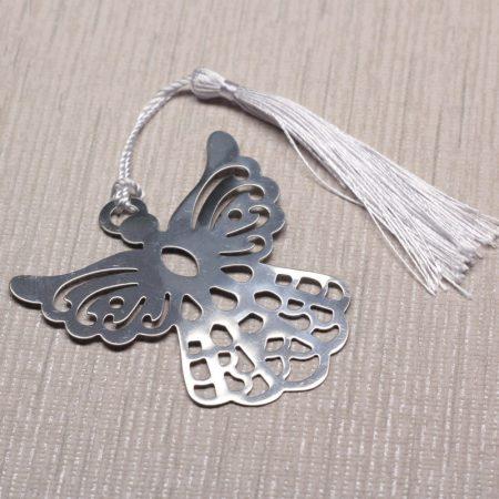 Textilbojtos acél könyvjelző (vagy egyéb dekoráció) díszdobozban - angyal