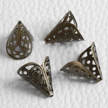 Fém filigrán gyöngykupak / angyal szoknya - antik bronz színű 16x16x12mm-es