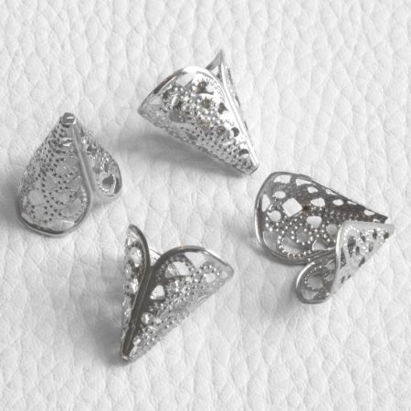 Fém filigrán gyöngykupak / angyal szoknya - ródium színű 16x16x12mm-es