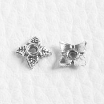 Tibeti stílusú fém gyöngykupak - antik ezüst színű 5,5mm-es (átlóban 7,5mm)