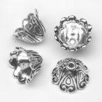 Tibeti stílusú fém gyöngykupak (angyalszoknyának is alkalmas) - antik ezüst színű 15x11mm-es