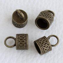 Tibeti stílusú fém, ragasztható gyöngykupak - antik bronz színű 9,5x14,5mm-es