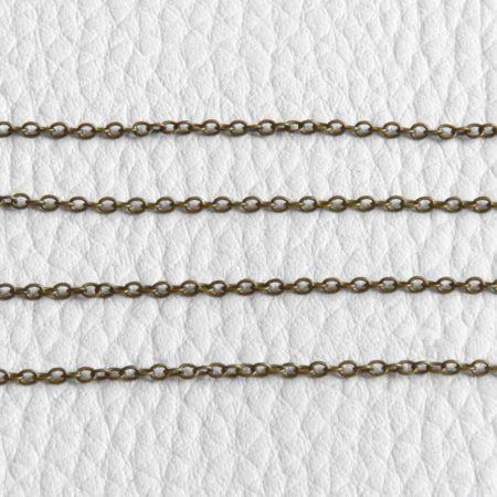 Antik bronz színű, rézalapú, 2x1,5mm-es zártszemű fémlánc - /m