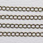 Antik bronz színű, réz alapú, 4x3,5mm-es zártszemű fémlánc (lánchosszabbítónak is alkalmas) - 4m