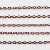 Antik vörösréz színű, vas alapú, 3,8x2,7mm-es nyitható szemű fémlánc - 1m