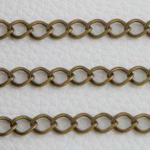 Antik bronz színű, vas alapú, 8,1x6,6mm-es nyitható szemű fémlánc - 1m