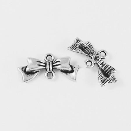 Tibeti stílusú összekötő elem - antik ezüst színű 9x19mm-es masni