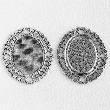 Tibeti stílusú ragasztható fém medál alap - antik ezüst színű 55x46mm-es, 36x27mm-es kabosonhoz