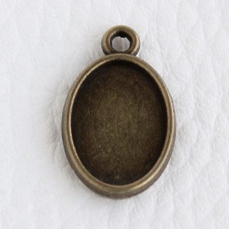 Tibeti stílusú KÉTOLDALAS ragasztható fém medál alap - antik bronz színű 20x13mm-es, 14x10mm-es kabosonhoz