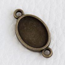 Tibeti stílusú KÉTOLDALAS ragasztható fém medál alap / összekötő elem  - antik bronz színű 23x13mm-es, 14x10mm-es kabosonhoz