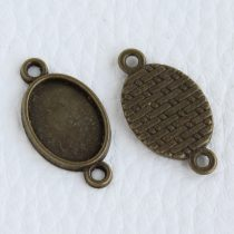 Tibeti stílusú ragasztható fém medál alap / összekötő elem - antik bronz színű 55x37mm-es, 45x35mm-es kabosonhoz