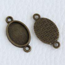 Tibeti stílusú ragasztható fém medál alap / összekötő elem  - antik bronz színű 23x13mm-es, 14x10mm-es kabosonhoz