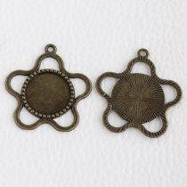 Tibeti stílusú ragasztható fém medál alap - antik bronz színű 38x35mm-es, 18mm-es kabosonhoz