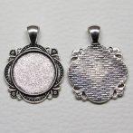 Tibeti stílusú ragasztható fém medál alap - antik ezüst színű 37x28mm-es, 20mm-es kabosonhoz