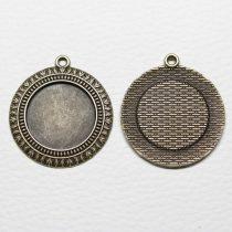Tibeti stílusú ragasztható fém medál alap - antik bronz színű 42x38mm-es, 25mm-es kabosonhoz