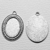 Tibeti stílusú ragasztható fém medál alap - antik ezüst színű 39x28mm-es, 25x18mm-es kabosonhoz